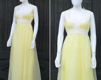 60s 70s Mike Benet Chiffon Party Prom Dress * XS