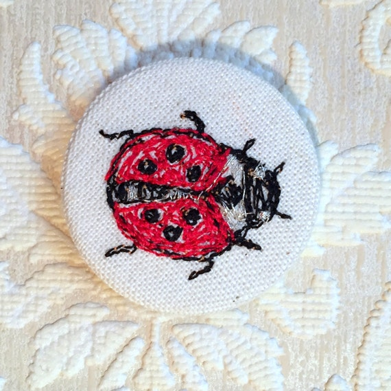 Ladybird badge- linen- stitched