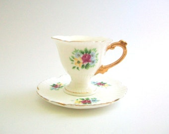 Demitasse Teacup, White Teacup, White Demitasse, Teacup & Saucer, Teacup Set, Floral Teacup, Floral Demitasse, Pink and White Teacup Vintage