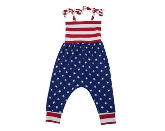 Baby Harem Romper, Toddler Harem Romper, Baby Romper, Stars and Stripes, 4th of July Fourth, Memorial Day, Veterans Day, Military Homecoming