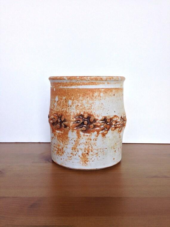 Hand thrown rustic planter vintage hand formed art pottery vase