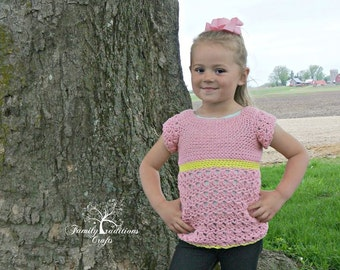 Instant Download- Crochet Pattern- Children's Primrose Blouse
