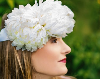Bridal flower crown headband white romantic