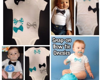 Bowtie Bodysuit (snap-on) Baby Boy Shower Gift, Christmas, Easter, Wedding, Church Outfit