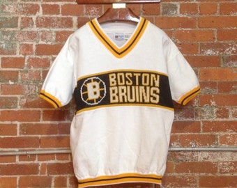 RARE Vintage Boston Bruins NHL Shortsleeve Knit Logo Cliff Engle Sweater - XL / L