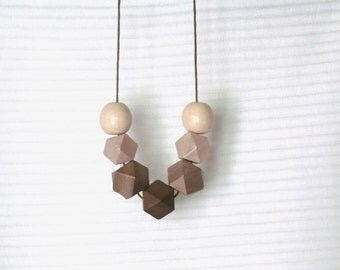 Geometric wooden necklace / Beige brown chocolat coffee  wooden necklace / minimalist wooden necklace / modern necklace / natural
