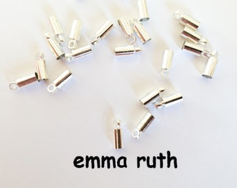 50 Brass Cord Ends Nickel Free Silver Color 3mm inner diameter Silver Terminators for Jewelery Making Wholesale Lot of 50 Jewelry Supplies
