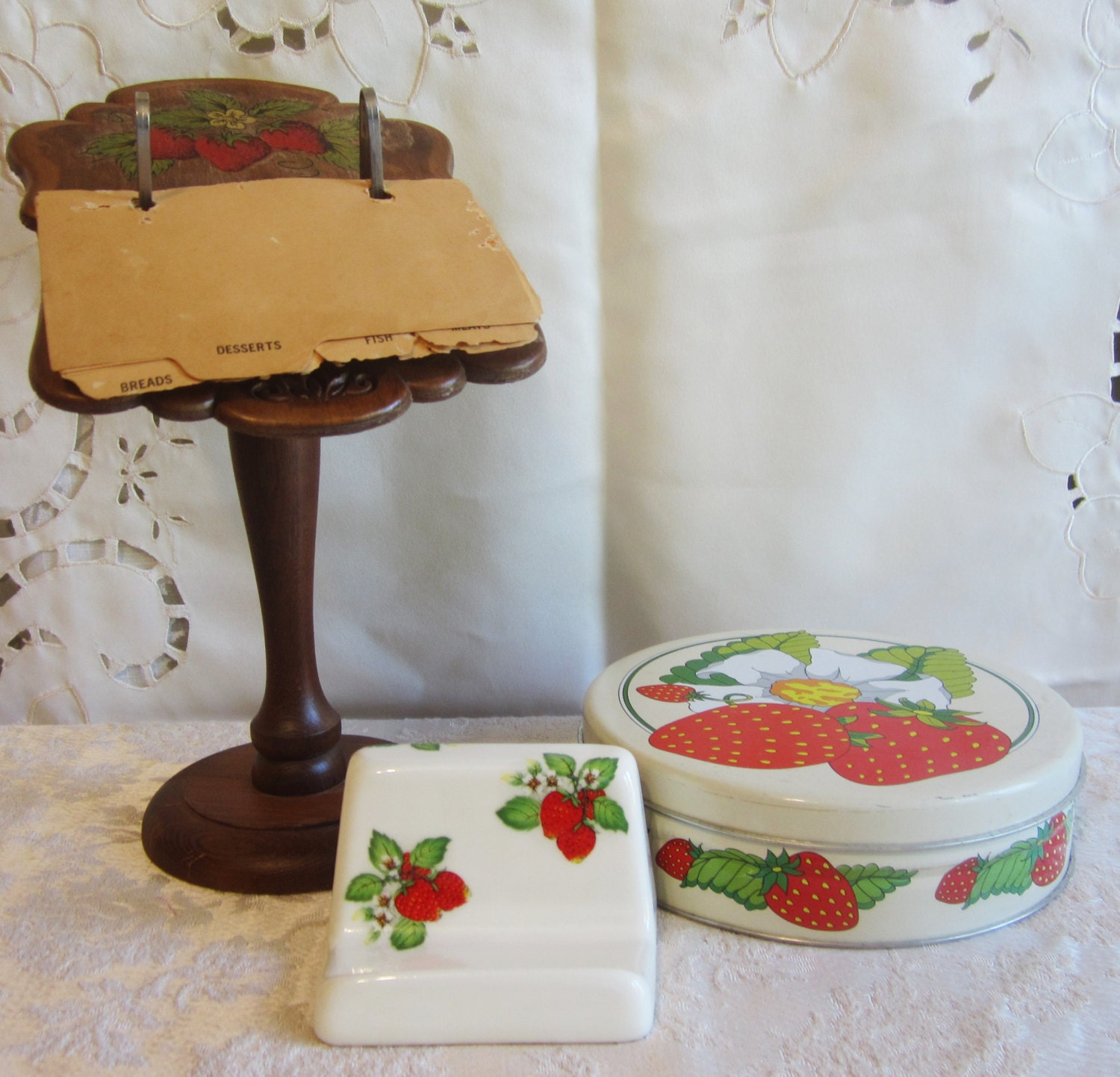 Strawberry themed decorative trio of vintage round shortcake tin wooden and ceramic recipe - Strawberry themed kitchen decor ...