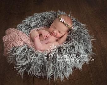 Newborn knit 10x30 wrap in mohair blend