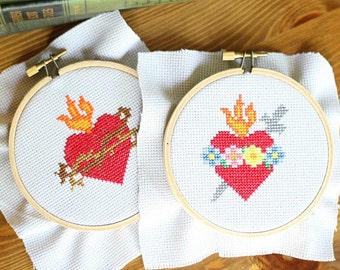 Immaculate Heart AND Sacred Heart Cross Stitch Patterns // Catholic Cross Stitch Template