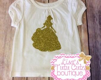 Princess Glitter Silhouette Shirt. Birthday Shirt. Princess Shirt.