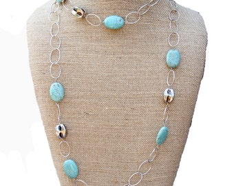 Long Turquoise and Sterling Bead Necklace