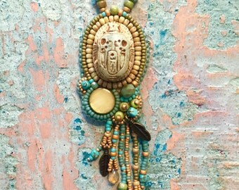 Bead Embroidered Scarab Necklace