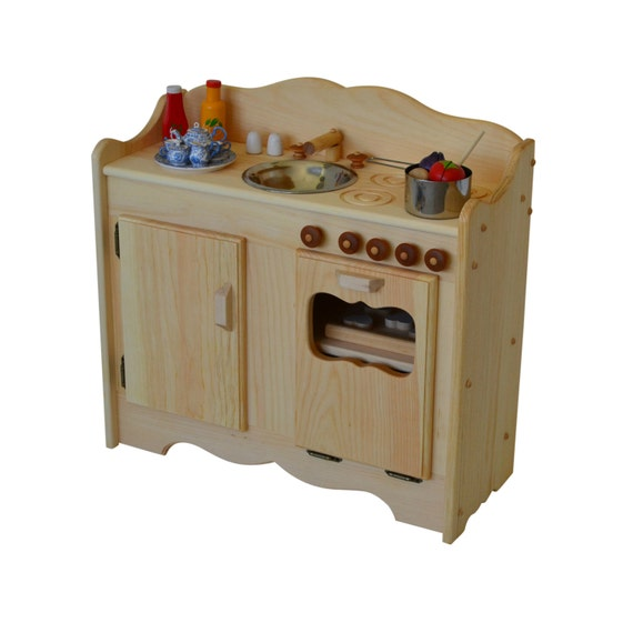 Wood Play Kitchen: Natural Wooden Play Kitchen-Waldorf Play Stove-Child's
