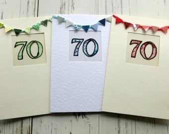 70th birthday card - Greeting card - birthday card - blank card  - hand painted - hand crafted - handmade - celebration card - uk seller