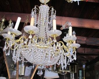 1970's Large 12 Light Crystal Chandelier