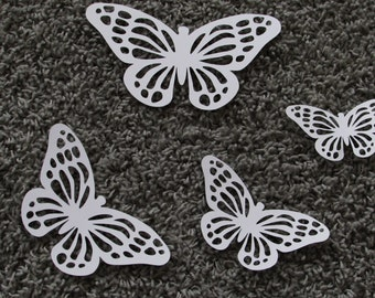 """Paper Monarch butterfly die cuts /White color / 15 pc. set /   size from 1.5"""" to 5.5"""" / big butterfly die cuts"""