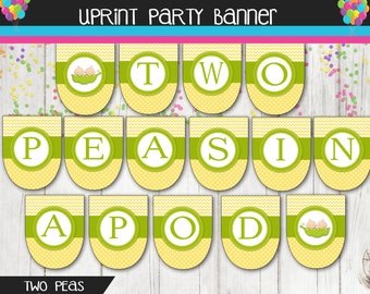 Two Peas In a Pod - Baby Shower Banner - Printable Banner Instant Download -