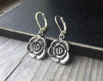 Tibetan Silver Rose Flower With Lever Backs