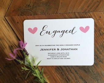 Simple Modern Calligraphy Style Font, Engagement Announcement, engagement party invitation, heart announcement