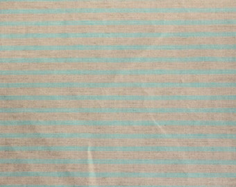 Teal stripes on Gray-Cotton Linen Blend-Italian Import
