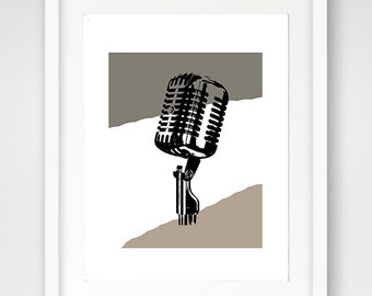 Vintage Mic, Microphone Print, Beige Mic, Download Wall Art, Color Print, Ready to Frame, Print from Home, Micriphone Wall Art