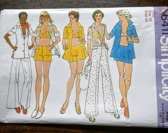 Vintage  pattern Simplicity 6411 for beachwear, shorts, trousers, sun top and shirt size 16. 1974