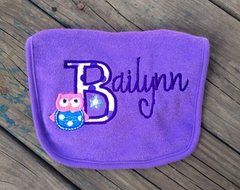 Personalized Baby Bib - With Applique Owl and Name