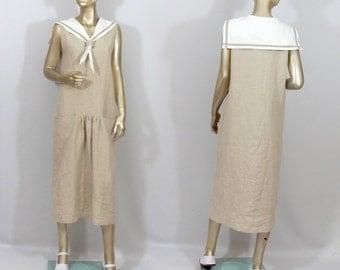 1920s, sailors dress, linen, flapper dress, beige, maxi, vintage style, bridesmaid dress, sundress plus size. Free shipping in USA.
