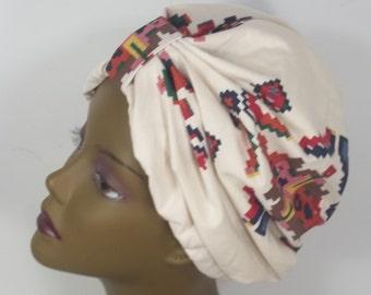 Cotton, fashion turban, hat, white, Aztec print, full turban, chemo, vintage style, designer, size Sm, Med, L, XL. Free shipping in USA.