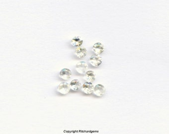 Natural Ceylon 2.5 mm Round Faceted Diamond Cut White Sapphire for One