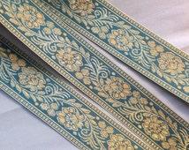 3 meter teal and gold metal brocade trim