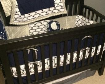 Pro sports team crib bedding with minky