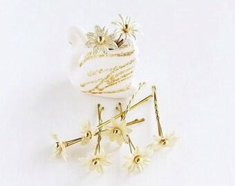 Gold Flower Hair Pins, Small Bridal Clips, Wedding Hair Pins, Gold Hair Pins, Bridal Hair Pins, Bridesmaid Hair Pins, Bridal Bobby Pins