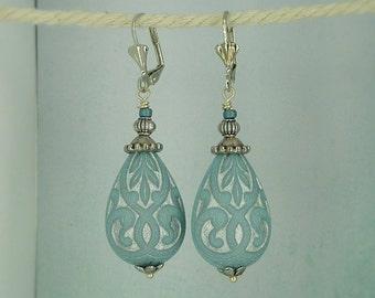 """Earrings """"Arabian nights"""" ornaments drops silver light blue"""