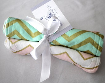 Mint, Blush Pink and Gold Burp Cloths - Burp Pads, Cotton and Chenille - Shower Gift, Chevron