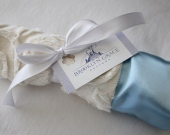 Ivory Embossed Vine Mini Minky Blanket Finished with an Elegant and Soft Baby Blue Satin Ruffle Trim - Lovey, Lovie, Baby Shower