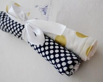 Navy, White and Gold Polka Dots - Burp Cloths, Set of 2, Nursing, Feeding, Burp Pads