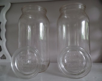 Canning Jars with Glass Lids, Set of Clear Quarts, Buck Glass Company 1940s, Kitchen Decor/ Containers/ Storage, Vintage Country Home