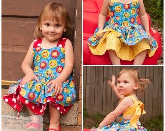 Handmade Peekaboo Dress Curious George Inspired sizes newborn - girls 8