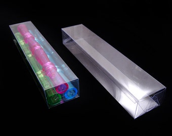 """PVC Invitation clear boxes for party favors, weddings, packaging - Rectangle 1.5"""" x 2"""" x 10"""" - 1 dozen"""