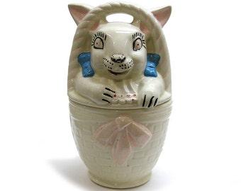 Vintage 1940s Cookie Jar by American Bisque Pottery Rabbit In Basket