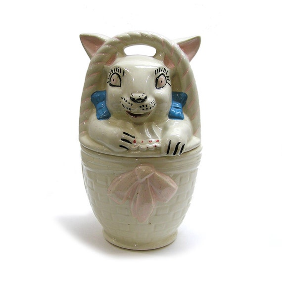 Vintage 1940s Cookie Jar By American Bisque Pottery Rabbit In