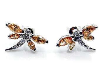 Honey (Champagne) Cubic Zirconia Jewelry & .925 Sterling Silver Dragonfly Earrings ; J20
