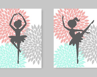 Ballerina Wall Art, Little Girl Room Decor, Nursery Art, Aqua Coral Gray, Dahlia, Baby Girl, Dancer Wall Art, Ballerina Canvas, Baby Shower