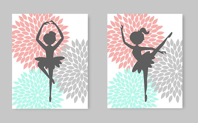 Ballerina Wall Art, Little Girl Room Decor, Nursery Art, Aqua Coral Gray,