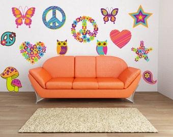 Peace Sign Wall Art   Heart Wall Decals   Flower Wall Decals   Girls Room  Wall Design Ideas