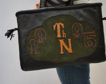 Vintage HANDMADE LEATHER BAG to carry your small dog ....