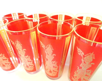 Set of 8 Mid Century Tumblers- Red Gold High Ball Glasses- Thailand Siam Dancer Glasses- Asian/ Oriental Glasses- Vintage Tumblers Barware
