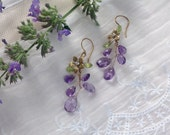 Wire Wrapped Gemstone Earrings, Amethyst Peridot Floral Design, Wisteria Earrings